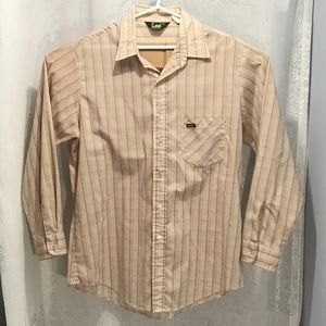 Vintage Lee Plaid Gray LS Button Front Shirt pink
